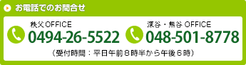 お電話でのご相談 TEL.0494-26-5522